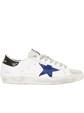 GOLDEN GOOSE DELUXE BRAND - WHITE AND BLUE SUPERSTAR SNEAKERS
