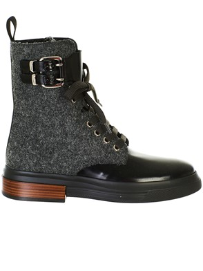 TOD'S - BLACK AND GREY COMBAT BOOTS