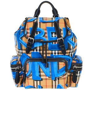BURBERRY - BROWN AND BLUE BACKPACK