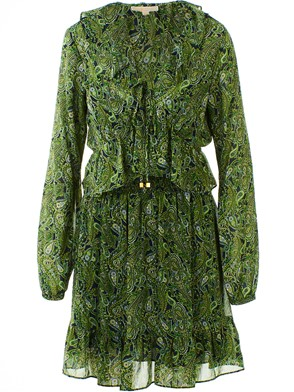 MICHAEL KORS - GREEN SMOCKED DRESS