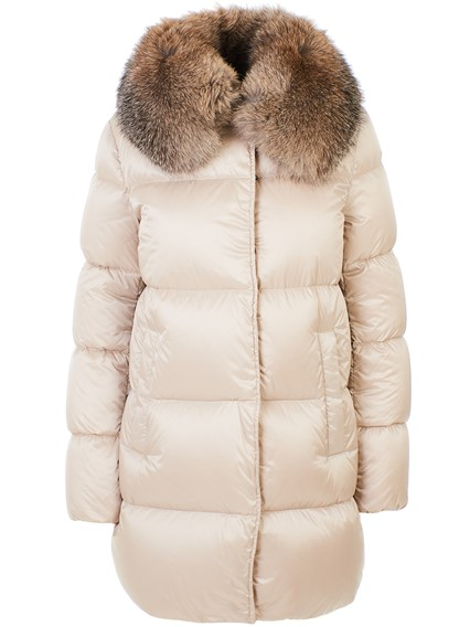 MONCLER IVORY LORIOT DOWN JACKET\nGoose down jacket\nTWO FRONT POCKETS