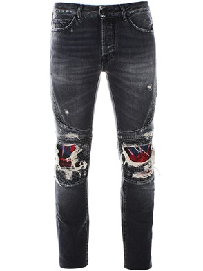 MARCELO BURLON COUNTY OF MILAN - GREY BIKER JEANS