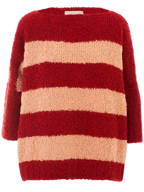 NUWOOLA - RED AND PINK SLOT SWEATER