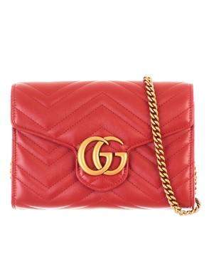 GUCCI - RED MINI GG MARMONT BAG