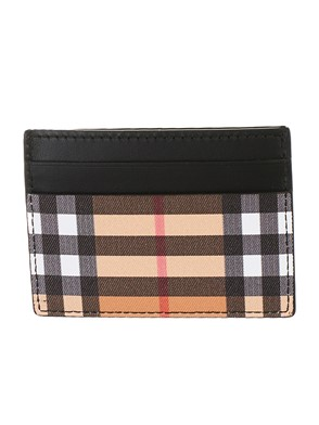 BURBERRY - BLACK AND BROWN SANDON CARD HOLDER