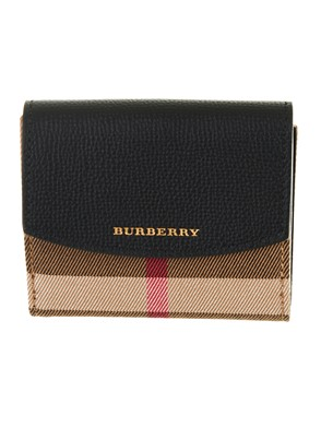 BURBERRY - BLACK AND BROWN LUNA WALLET