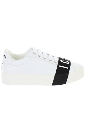 DSQUARED2 - WHITE LACE UP SNEAKERS