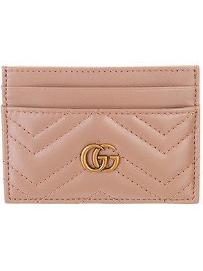 GUCCI - ANTIQUE PINK GG MARMONT CARD HOLDER