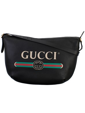 GUCCI - BLACK HOBO MESSENGER BAG
