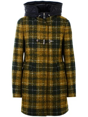 FAY - GREEN AND MUSTARD DUFFEL COAT