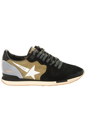 GOLDEN GOOSE DELUXE BRAND - GREEN AND BLACK RUNNING SNEAKERS