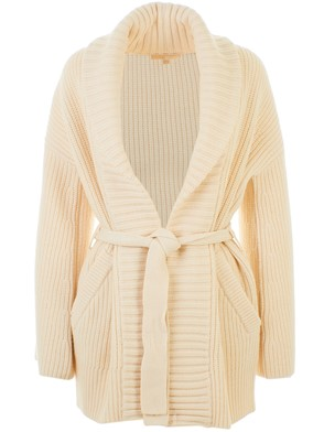 MICHAEL KORS - CREAM SHAKER BELTED BONE CARDIGAN