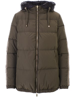 DIEGO M - BLACK AND GREEN DOWN JACKET