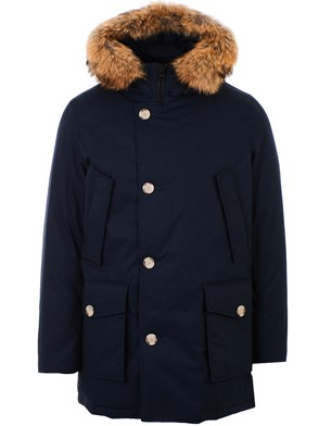 WOOLRICH - BLUE LAMINATED COTTON PARKA