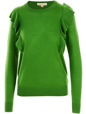 MICHAEL KORS - GREEN RUFFLE TRUE SWEATER