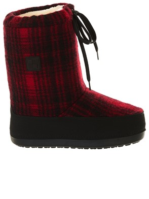 WOOLRICH - RED AND BLACK MOON BOOT