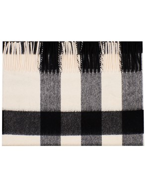 BURBERRY - WHITE AND GREY MEGA MU HALF SCARF