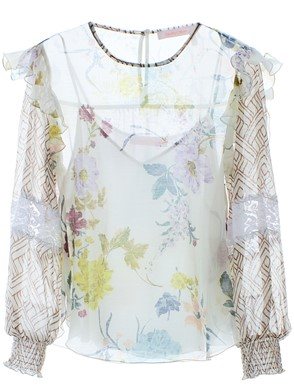 SEE BY CHLOE' - BLUSA BIANCA FLOREALE