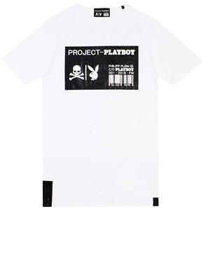 PHILIPP PLEIN - WHITE PLAYBOY T-SHIRT