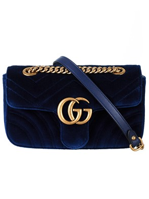 GUCCI - BLUE MINI GG MARMONT BAG