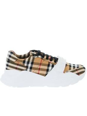 BURBERRY - SNEAKER REGIS M LOW  MARRONE