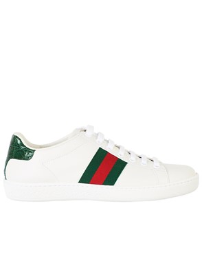 GUCCI - WHITE ACE WEB SNEAKERS