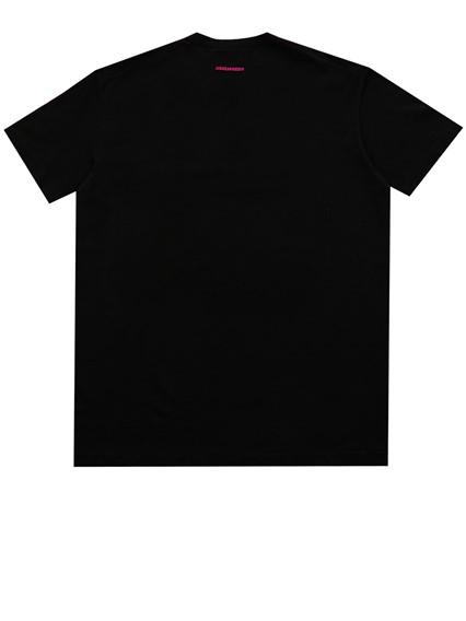 DSQUARED2 BLACK AND FUCHSIA T-SHIRT