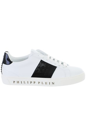 PHILIPP PLEIN - WHITE AND BLACK LO-TOP SNEAKERS