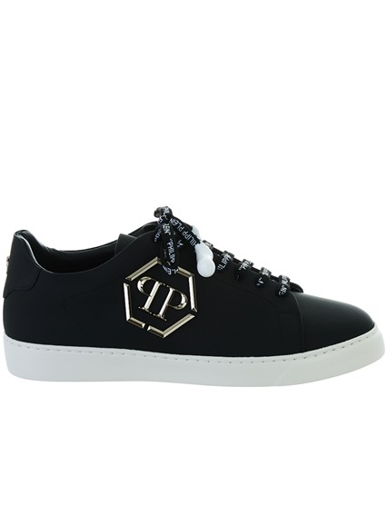 18d88a67aa8 philipp plein BLACK LO-TOP SNEAKERS available on lungolivigno.com ...