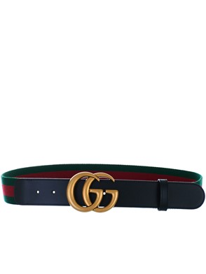 GUCCI - BLACK GG MARMONT BELT