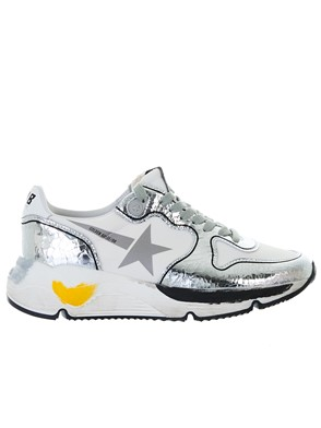 GOLDEN GOOSE DELUXE BRAND - WHITE AND SILVER RUNNING SNEAKERS