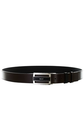 BALLY - BLACK AND BROWN CARROVER BELT