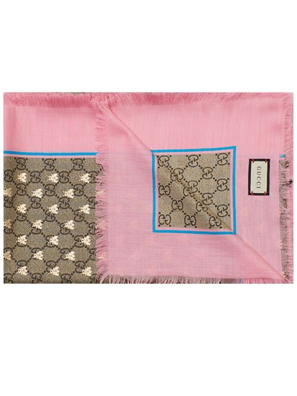 gucci PINK AND BROWN FOULARD available on lungolivigno.com - 27521 1c30c34b536