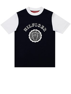 HILFIGER COLLECTION - BLUE AND WHITE SOUVENIR T-SHIRT