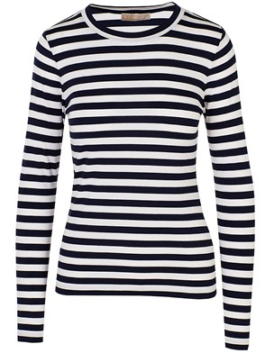 MICHAEL KORS - WHITE AND NAVY STRIPED T-SHIRT