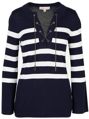 MICHAEL KORS - NAVY STRIPED SWEATER