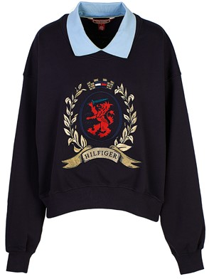 HILFIGER COLLECTION - NAVY COLLEGE ROUND-COLLAR SWEATSHIRT