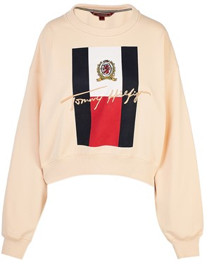 HILFIGER COLLECTION - WHITE COLLEGE ROUND-NECK OVER SWEATSHIRT