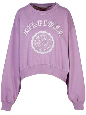HILFIGER COLLECTION - LILAC COLLEGE ROUND-NECK OVER SWEATSHIRT