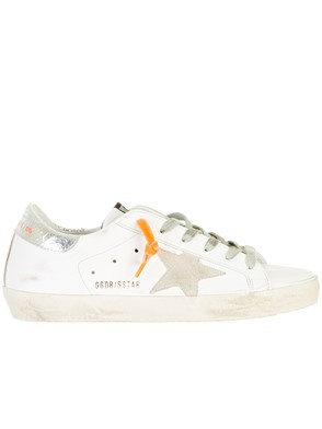 GOLDEN GOOSE DELUXE BRAND - WHITE AND ORANGE SUPERSTAR SNEAKERS