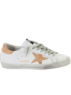 GOLDEN GOOSE DELUXE BRAND - WHITE AND SAND SUPERSTAR SNEAKERS