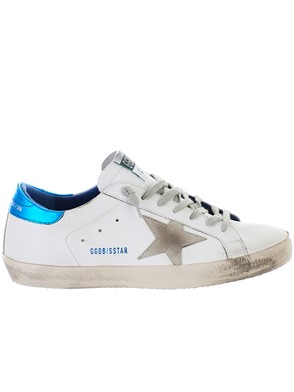 GOLDEN GOOSE DELUXE BRAND - WHITE AND LIGHT BLUE SUPERSTAR SNEAKERS