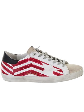 GOLDEN GOOSE DELUXE BRAND - WHITE AND RED SUPERSTAR SNEAKERS
