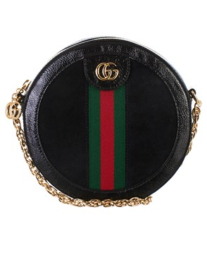 GUCCI - BLACK ROUND GG OPHIDIA BAG