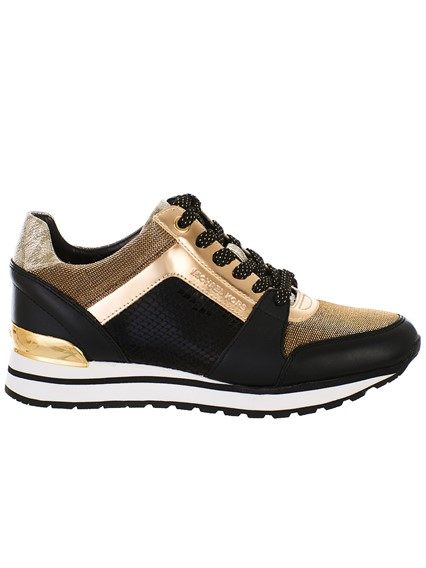 2fdcdaab506 michael michael kors BLACK AND GOLD BILLIE TRAINER SNEAKERS ...