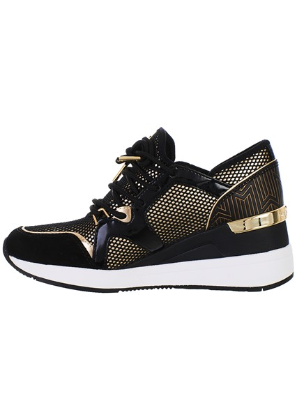 3bb5a9c02ce1 michael michael kors BLACK AND GOLD LIV TRAINER SNEAKERS available ...