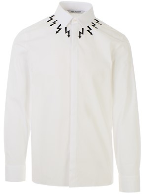 NEIL BARRETT - WHITE SHIRT WITH BLACK ARROWS