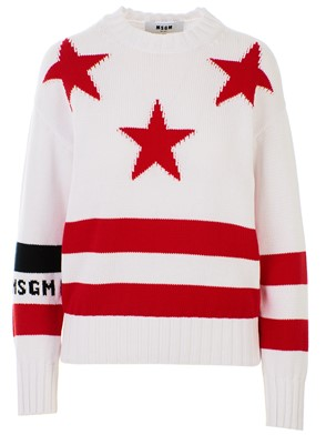 MSGM - WHITE AND RED SWEATER