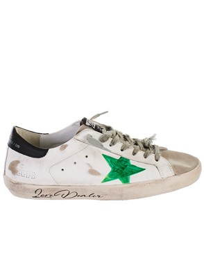GOLDEN GOOSE DELUXE BRAND - WHITE AND GREEN SUPERSTAR SNEAKERS