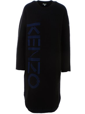 KENZO - BLACK LOGO KNITTED DRESS
